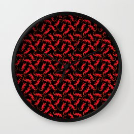 Beautiful bright fire red artistic crawling lizards. Elegant classy black seamless lizard pattern Wall Clock