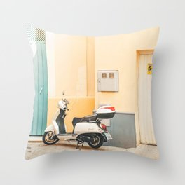 Seville VIII [ Andalusia, Spain ] Scooter on yellow street⎪Colorful travel photography Poster Throw Pillow