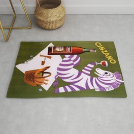 Vintage Purple Zebra Issue Italian Cordial Cinzano Advertisement Poster Rug