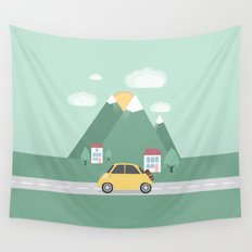 Little Yellow Car Wall Tapestry