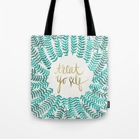 typography Tote Bags featuring Treat Yo Self – Gold & Turquoise by Cat Coquillette
