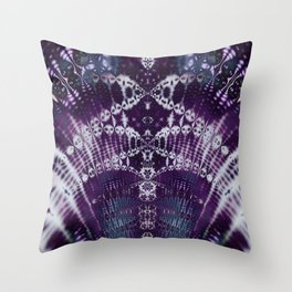 Purple Fractal Tie Dye Tie Dye Throw Pillow