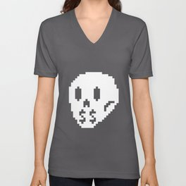 8bit money skull Unisex V-Neck