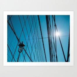 Looking up on Brooklyn Bridge in NYC Art Print