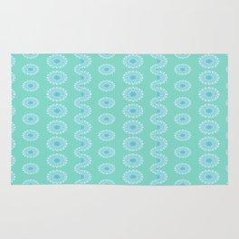 Fancy Blue-Green Mandala Pattern Rug