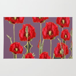 ART NOUVEAU RED POPPIES PUCE ART Rug