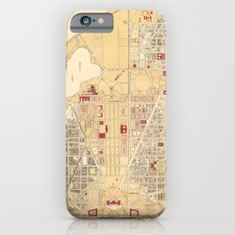 Vintage Map of The Washington D.C. Mall (1917) iPhone Case