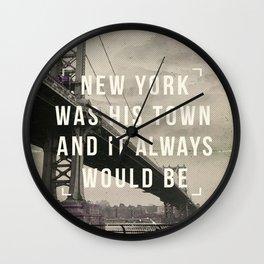 Manhattan movie quote art print Wall Clock