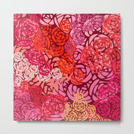 Colorful Overlapping Roses on Roses Print Design 4 Metal Print