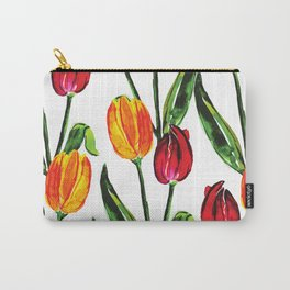 Easter Spring Floral Tulips, Red Yellow Green Watercolor Carry-All Pouch