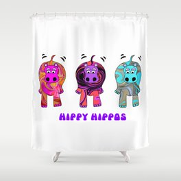 Hippy Hippie Hippos Shower Curtain