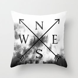 Foggy Forest Compass Throw Pillow