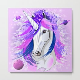 Unicorn Spirit Pink and Purple Mythical Creature Metal Print