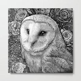 Barn Owl in Flowers Metal Print