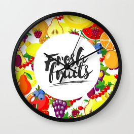 Fresh fruits. Background with juicy ripe fruit and berries , round composition, lettering. Wall Clock