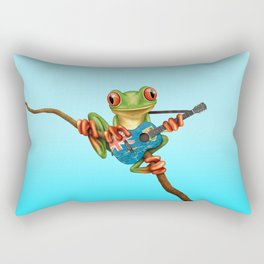 Tree Frog Playing Acoustic Guitar with Flag of Turks and Caicos Rectangular Pillow