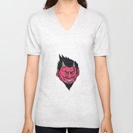 Demon Horns Goatee Head Drawing Unisex V-Neck