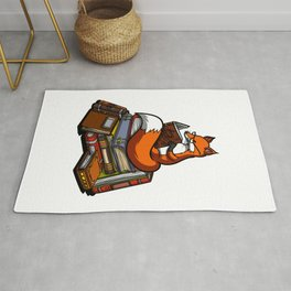 Cute Fox Reading Book Rug