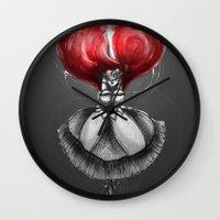 "calendars Wall Clocks featuring Crimson Lolita by Barbora ""Mad Alice"" Urbankova"