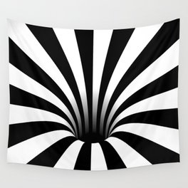 Optical Illusion Op Art Radial Stripes Warped Black Hole Wall Tapestry