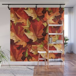 Autumn Leaves Abstract - Painterly Wall Mural