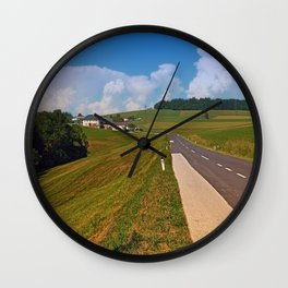 Country road and cloudy blue sky   landscape photography Wall Clock
