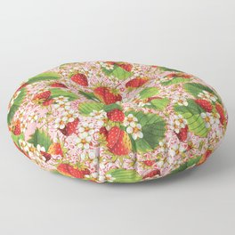 Pink Paisley Strawberries Floor Pillow