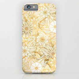 Artsy Girly Chic Hand Drawn Floral Illustrations iPhone Case