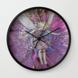 Pink Lady Garden Fairy Art Wall Clock