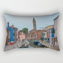 Burano Island Italy Canal Boats Rectangular Pillow