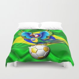 Brazil Macaw Parrot with Soccer Ball Duvet Cover