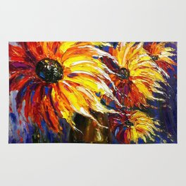Oil painting Fire Flowers Rug