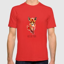 Cute Little Red Fox water colour ink T-shirt