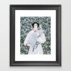 Girl and rabbit among flowers Framed Art Print