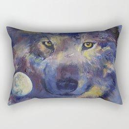 Grey Wolf Moon Rectangular Pillow