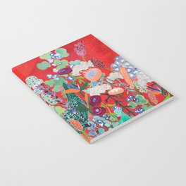 Floral Jungle on Red with Proteas, Eucalyptus and Birds of Paradise Notebook