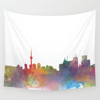 toronto Wall Tapestries featuring Toronto  by Daniel McLaren