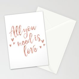 All you need is love - rose gold and hearts Stationery Cards