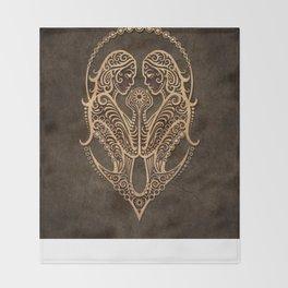 Vintage Rustic Gemini Zodiac Sign Throw Blanket