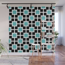 Classic Hollywood Regency Pattern 221 Turquoise and Black Wall Mural