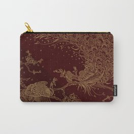 Golden Peacocks Carry-All Pouch