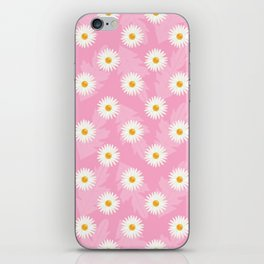 Daisies On Pink Floral Pattern iPhone Skin
