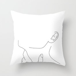 Hand on neck line drawing - Lo Throw Pillow