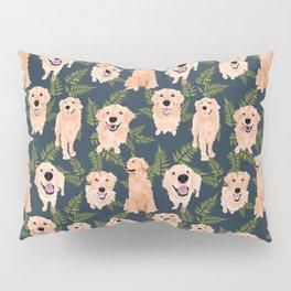 Golden Retrievers and Ferns on Navy Pillow Sham