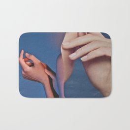 Abstract In Blue With Hands Bath Mat