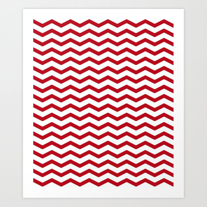 Simple red, white zigzag. Kunstdrucke