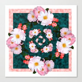 Bordered pink and white blossoms Canvas Print