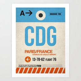 CDG Paris Luggage Tag 2 Art Print