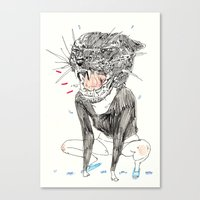 meow Canvas Prints featuring meow by withapencilinhand