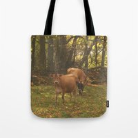 cows Tote Bags featuring Cows by Ashley Callan